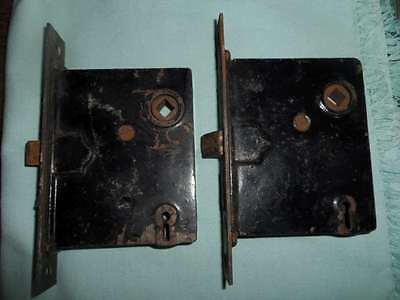 Vintage Set Of 2 Skillman Skeleton Key Deadbolt Door Locks Antique Security Cool