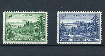 Norfolk Islands 1959 on white paper 3d and 2s SG6a & SG12a fresh MNH cat £30