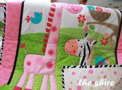 Baby Bedding Crib Cot Quilt Sheet Set-NEW 8pcs Quilt Bumpers Sheet Dust Ruffle