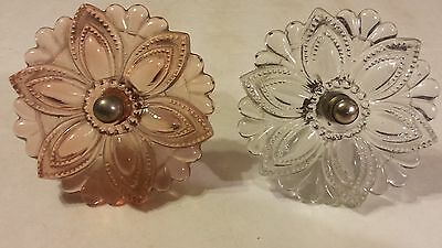 Pair large glass vintage knobs 3 1/2 inches Pink & Clear