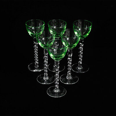 Vintage Green Bowl Twisted Stem Aperitif / Cordial Glasses x6