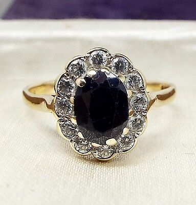Vintage 1988 Beautiful 9ct Yellow Gold Sapphire and Crystal Cluster Ring Size M