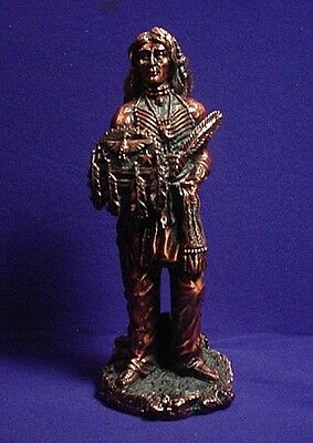 "10-1/2"" Tall Indian Chief ~ REAL Copper Metal Finish ~ Western FIGURINE Statue"