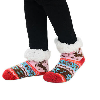 Childrens Slipper Socks 1 Pair Fairisle Reindeer Multi Colours Size UK 9-12