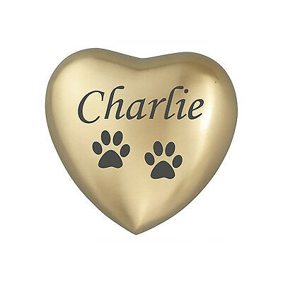 Personalised Paw Golden Heart Urn Keepsake for Ashes Cremation