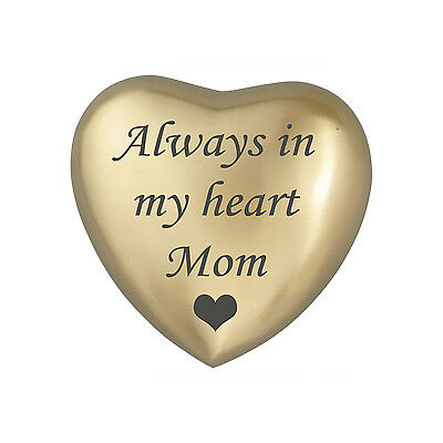 Always In My Heart Mom Golden Heart Urn Keepsake for Ashes Cremation