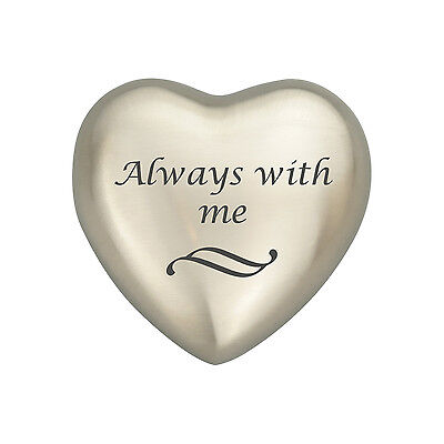Always With Me Silver Heart Urn Keepsake for Ashes Cremation