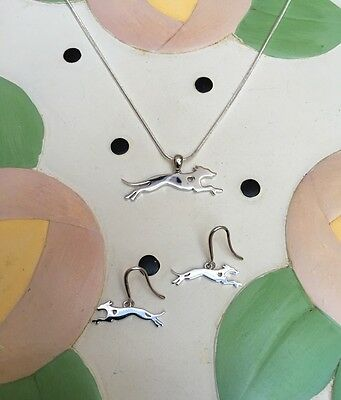 Whippet Sterling Silver Charm Necklace & Earrings Set - New - FREE SHIPPING