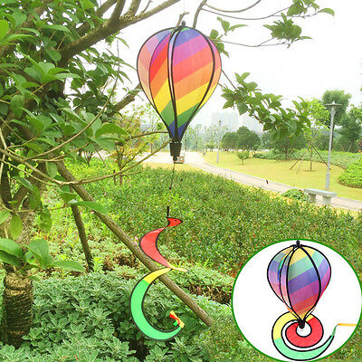 "55 "" Wind Spinner Rainbow Stripe Hot Air Balloon Yard Decor Spring Coming Mark"