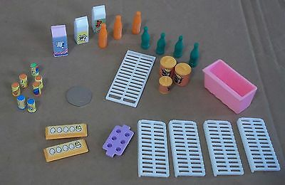 "Vintage Barbie Doll 12"" Fashion Doll Type Fridge Accessories 29 Piece Play Set"