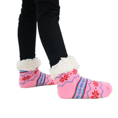 Kids Children Christmas Slipper Socks Snowflake Grip 1 Pair Size UK 12-3