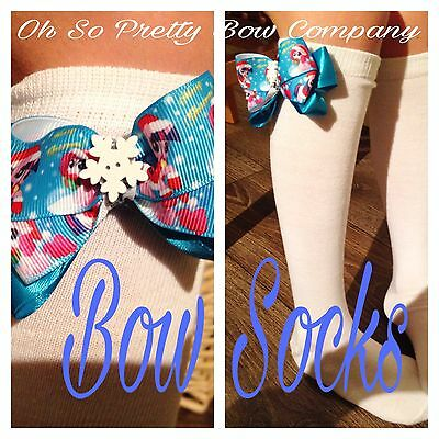 Little Girls Pony Bow Knee High Socks Xmas CUTE Pretty Size 4-9 Or 9-12