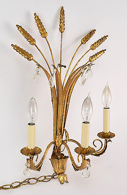 Vintage Mid-century Italian Gilt Metal & Crystal Sheaf of Wheat Wall Sconce Lamp • CAD $282.20