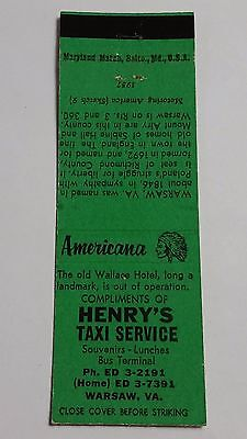 HENRY'S TAXI SERVICE WARSAW, VIRGINIA Matchbook Matchcover