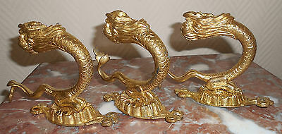 3 Antique French Bronze ormulu Dolphin Wall Hooks