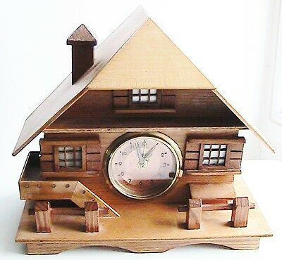 Lovely present! Vintage chalet clock with jewellery compartment