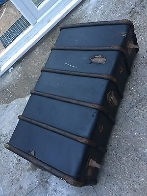 Vintage/Retro Blue Bentwood Steamer Travelling Trunk Chest/Storage Coffee Table