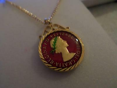 Vintage Enamelled Farthing Coin Pendant & Necklace 1954. Birthday Christmas Gift