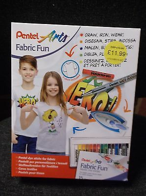 Pentel Arts Fabric Fun Gift Set - Contains T Shirts/ Pastels/gel Pen & Templates