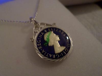 Vintage Enamelled Sixpence Coin Pendant & Necklace 1965. Birthday Christmas Gift