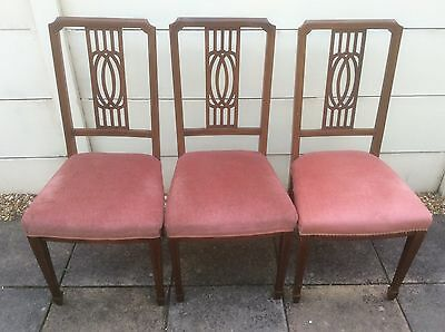 Set of 3 Vintage Antique Mahogany Dining Chairs Upcycle Shabby Chic Project