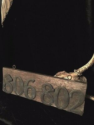 Antique Wood Address Sign Metal Numbers Old Rustic Primitive Haunting Halloween