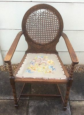 Retro Vintage Rattan Tapestry Bedroom Hallway Chair Upcycle Shabby Chic Project