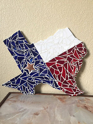 Stained Glass Texas Mosaic Handmade Wall Decor Ready to Hang