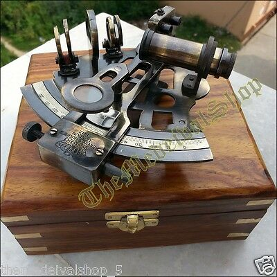 Nautical Marine Sextant & Wooden Box Brass Collectible German Astrolabe Gift