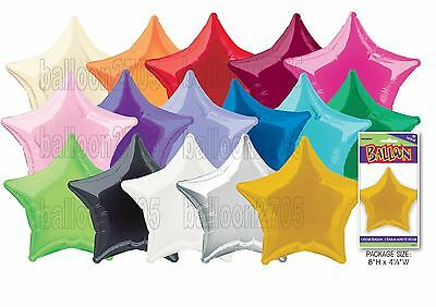 "20"" Plain Coloured Star Foil Balloons Party Helium Quality Wedding 14 colours"