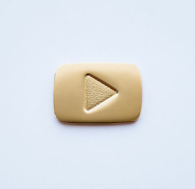 RARE Pin YouTube Gold Play Button Metal Badge