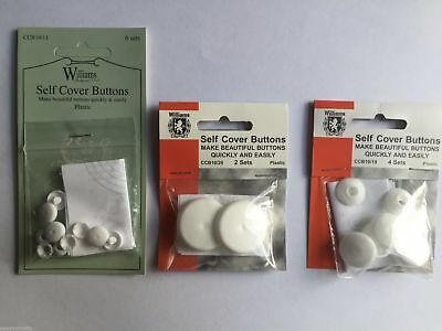 Self Cover Buttons Williams - Choice of Size 11mm - 38mm | No Tool Required