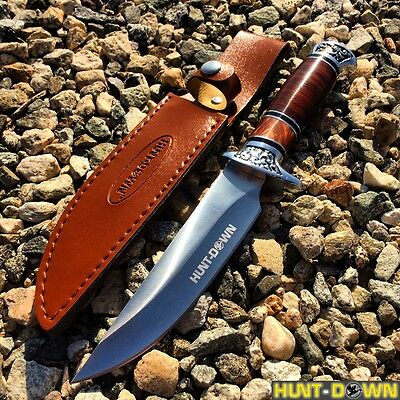 "12"" Hunt-Down Fixed Blade Brown and Chrome Knife with Leather Sheath"