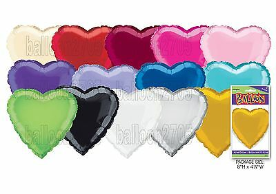 "18"" Plain Coloured Heart Foil Balloons Party Helium Quality Wedding 14 colours"