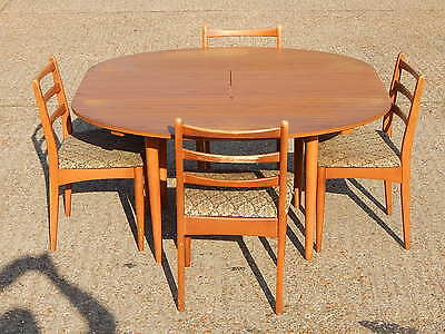 Vintage Schreiber mid century teak oval extending dining table with 4x chairs
