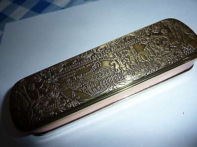 Dutch Brass and Copper Tobacco/ Snuff box with engraved lid .
