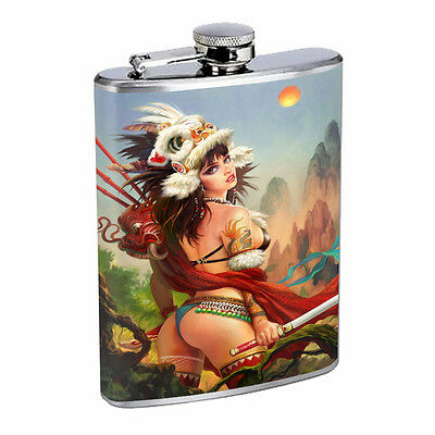 Savage Pirate Pin Up D18 Flask 8oz Stainless Steel Hip Drinking Whiskey Rum