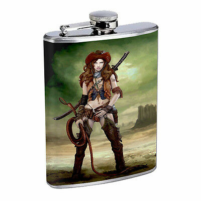 Savage Pirate Pin Up D19 Flask 8oz Stainless Steel Hip Drinking Whiskey Rum