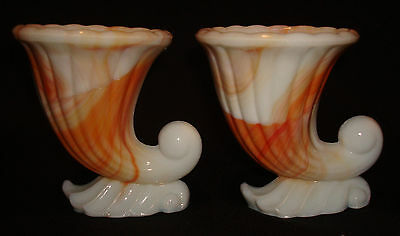 Vintage Vogue Merc Co NYC Orange White Akro Agate Slag Miniature Cornucopia Vase