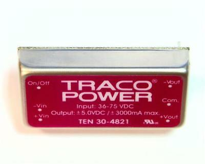 1 x TRACOPOWER Isolated DC-DC Converter TEN 30-4821, Vin 36-75V dc, Vout ±5V dc