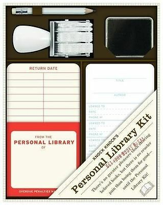 Knock Knock Personal Private Library Kit Stamp Cards Ink Book Loaner Kit