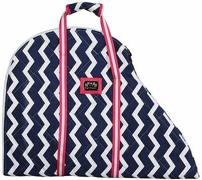 Equine Couture Saddle Bag Standard Protection Gift Awards! Zig-Zag Navy w/Pink