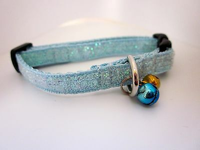 """Cat collar Kitten ribbon webbing safety Buckle Blue  Gold Bell 7"""" to 9"""" LAST ONE"""
