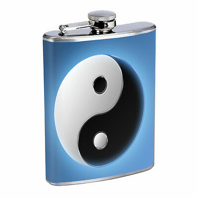 Yin Yang D2 Flask 8oz Stainless Steel Hip Drinking Whiskey Rum Scotch