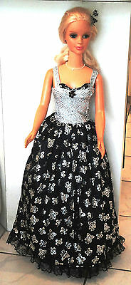 Silver sequin bodice w/black lame butterfly skirt for My Sise Barbie