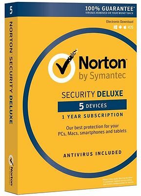 Norton Security Deluxe 2016 - 5 Device for PC/MAC/Android/iOS Brand NEW