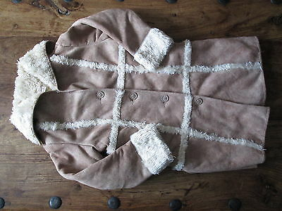 Next Girls Sheepskin Long Coat Age 7 - 8 Excellent Condition