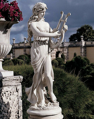 """47"""" Large Greek Muse with Harp Statue Sculpture"""