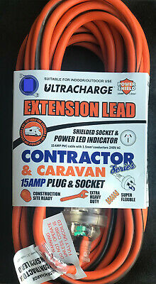 25 Meter 15amp Extra Heavy Duty Power Extension Cable Lead Cord 25m 15 amp