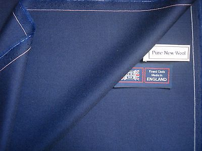 "100% PURE NEW WOOL WORSTED ""Royal Blue"" SUITING FABRIC MADE IN ENGLAND – 3.4 m."